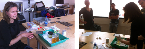These photographs shows Monika Fabijanczyk demonstrating the wet collodion process during a one day workshop in the Gallery of Photography in Dublin. Ciarán Walsh / Ballymaclinton participated in the workshop as part of his research into a six part TV documentary on photography in Ireland for `Sibéal Teo, Dingle, commissioned by TG4 with funding from the BAI (Broadcasting Authority of Ireland).