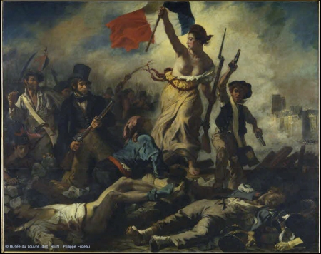 Eugene Delacroix, 'Liberty Leading the People,' 1830, Louvre, Paris. http://www.louvre.fr/en/oeuvre-notices/july-28-liberty-leading-people. Uploaded by Ciaran Walsh, www.curator.ie, Photographs credited © RMN, Musée du Louvre / [etc.] are the property of the RMN. Non-commercial re-use is authorized, provided the source and author are acknowledged.