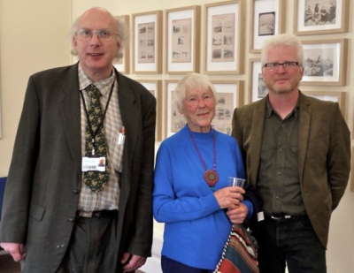 Aidan Baker, Haddon Librarian, Margaret Risbeth, Granddaughter of Alfred Cort Haddon, and Ciarán Walsh, www.curator.ie, at the opening of the Irish 'Headhunter' in Cambridge in 2014.