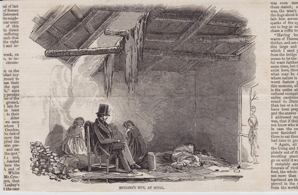 James O'Mahony, Mullins Hut, at Scull, published in THE ILLUSTRATED LONDON NEWS, Feb. 13, 1847. from the collection of Ciarán Walsh.