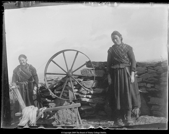 Original glass plate negatives of photographs around Ireland by J.M. Synge. Previous reproductions were published in a book titled My Wallet, in 1971.